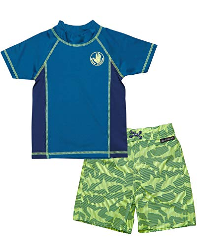 Body Glove Toddler Boys' Rash Guard Set - UPF 50+ Short Sleeve Swim Shirt and Bathing Suit Swimsuit Set, (Size 2T, Blue Shark)