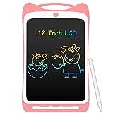 AGPTEK Bunte Schreibtafel LCD Kinder12 Zoll Bildschirm, Elektronisches Schreibtablet mit hellere Schrift, Digitale Maltafel mit Anti-Clearance Funktion, Kinder Rosa -