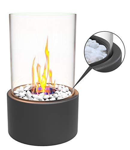 Edler Bio-Ethanol Tischkamin mit 2 x Ethanol-Tank, Dekosteinen, Löschstempel. Schönes Flammenspiel Innen Außen Feuerschale Dekofeuer Tischfeuer Glasfeuer Zimmerkamin Feuerschale Glas Indoor Outdoor