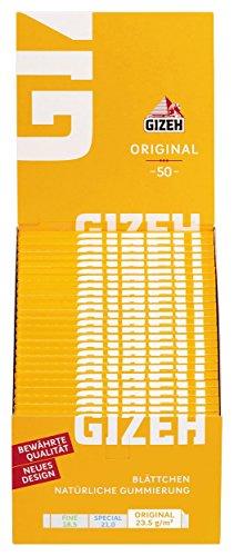 Gizeh 411110001 Original Kurzes Papier ( gelb ) 50 Heftchen x 50 Blättchen Zellulose