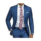 Outwear 2 piezas azul formal hombres traje slim fit solo pecho traje hombre trajes a medida novio esmoquin blazer para boda baile chaqueta pantalones Terno