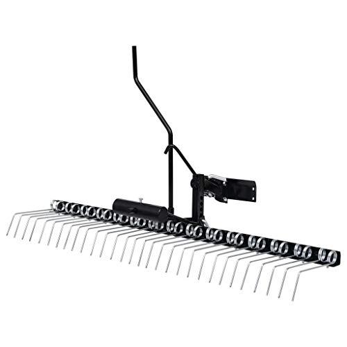 vidaXL Vertikutierer für Aufsitzmäher Rasenkamm Entmooser Rasenstriegel Rasentraktor ATV Rasen 120cm Verzinkter Stahl 13kg Schwarz