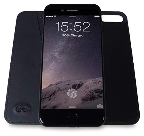 Dreem Bond iPhone 8 Plus Handyhülle, Ultradünnes Design, Magnetfrei Elegantes Weiches Veganes Leder, iPhone Hülle mit RFID-Schutz, Kick-Stand, Premium-Geschenkbox - iPhone Case Schutzhülle Schwarz