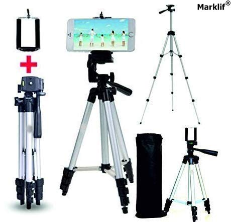 Marklif Adjustable Aluminium Alloy Tripod Stand Holder for Mobile Phones & Camera, 360 mm -1050 mm, 1/4 inch Screw +...