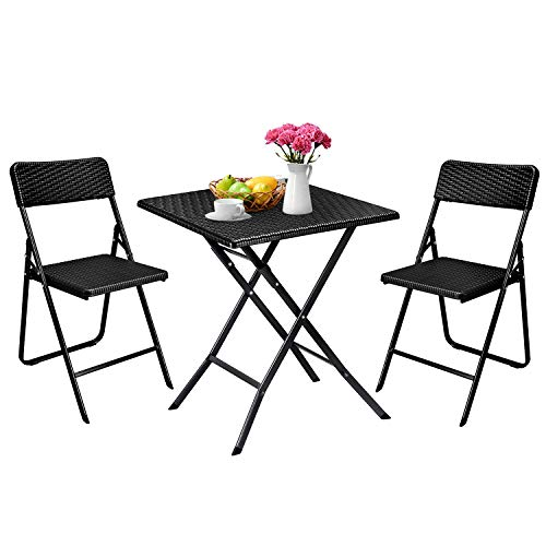 Aneken Patio Bistro Set 3 Piece, Rattan Outdoor Folding Bistro Sets of Table and Chairs, Foldable Bistro Balcony Furniture Set, Black