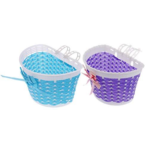 Sharplace 2Pc / Set Bike Front Basket Boys Shopping Holder Detachable Bowknot Basket