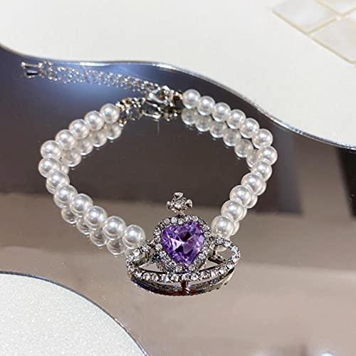 SONGK Pendientes de botón de Cristal de corazón púrpura de Moda Coreana para Mujeres Elegantes Regalos de joyería de Diamantes de imitación de Planeta