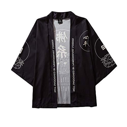 FRAUIT Herren japanischen Stil T-Shirt Kimono Cardigan Hemd Mantel Strickjacke Bademantel Lose Druck Kampfkunst Uniform Persönlichkeit Kleidung Bluse Top