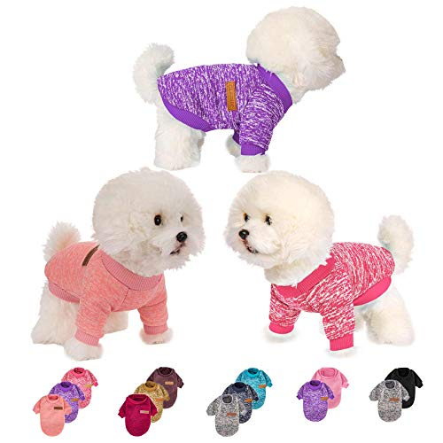 3 Pieces Dog Clothes for Small Medium Large Dog or Cat, Warm Soft Pet Sweater for Puppy, Small Dogs Girl or Boy, Dog Sweaters Shirt Jacket Vest Coat for Christmas (X-Small, Pink+Purple+HotPink)