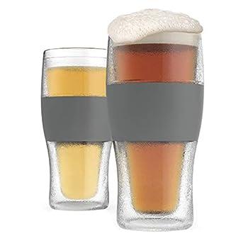 Host Freeze Beer Glasses 16 ounce Freezer Gel Chiller Double Wall Plastic Frozen Pint Glass Set of 2 Grey