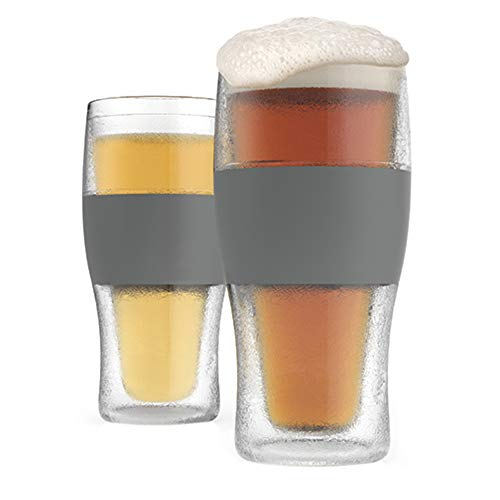 Host Freeze Beer Freezer Gel Chiller Double Wall Plastic Frozen Pint Glass, Set of 2, 16 oz, Grey 2-Pack