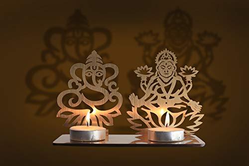 Lakshmi Ganesh Diwali Shadow Diya Tea Light Holder for Home / Office.TeaLight Tlight Candle Holder Stand. Diwali & Festival Decor and Lighting Accessories