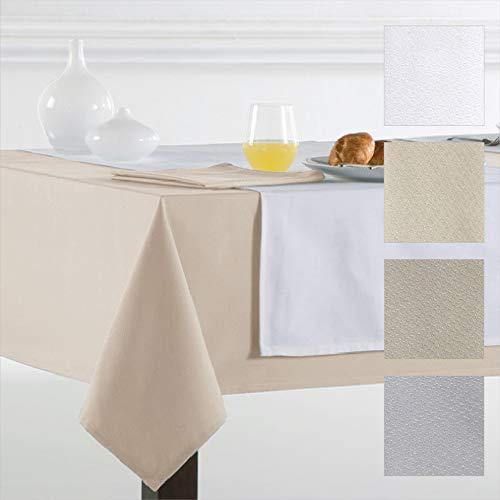 Barceló Hogar - Mantel de Mesa Crepe Modelo Angora, Calidad 50/50, Color Liso Crema, Medida Rectangular 150x200 cm, Mantel Hostelería