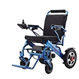 New Model 2020 Fold & Travel Lightweight Motorized Electric Power Wheelchair Scooter, Aviation Travel Safe Electric Wheelchair Heavy Duty Power Wheelchair (Blue)