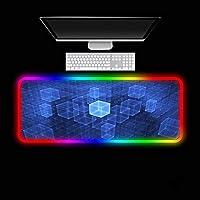 マウスパッドダイナミックキューブLEDマウスパッド14照明モードゲーミングセンサーノンスリップラバーベースコンピューターキーボードRGBマウスマット(700×300×3mm)