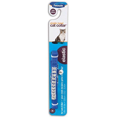 Petmate Bling Elastic Cat Collar, 3/8' x 8-10', Blue