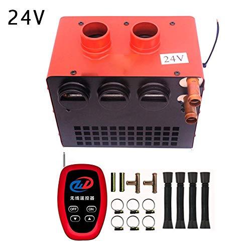 Verloco Auto-verwarmer, verwarming 12 V/24 V, ontdooivoorziening voor auto, derde snelheid, 8 gaten 60 W, voor het verwarmen van de koelvloeistof van de motor 24V Rood