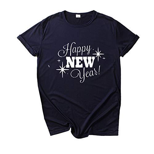 Happa Women's Short Sleeve T Shirts 2021 Printed T-Shirt Women Crew Neck Tops Women Casual Tops Pullover Blouse Navy