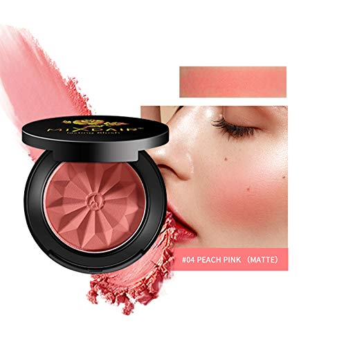 Mimore Colorete, de larga duración y resistente al sudor Colorete no graso y Colorete mate con brillo Super Brighten Skin Color Shimmery o Matte Colorete, con espejo. (04)