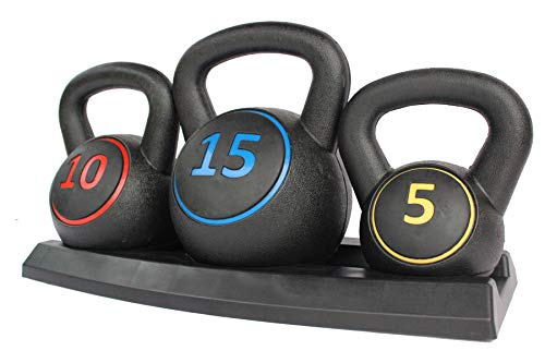 HaoKang Kettlebell Vinyl Coated Cement Kettlebell,A Set of Three Weights in 5lb,10lb,15lb for Body Exercise
