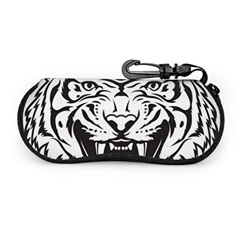 Estuche para gafas, logotipo de Tiger Ilustración en blanco y negro Gafas de sol con cabeza Estuche suave Estuche para gafas con cremallera de neopreno ultraligero Estuche con mosquetón, Estuche para