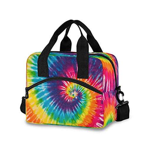 Rainbow Tie dye Lunch Bag with Shoulder Strap for Women Men Insulated Lunch Box Tote Bags Water-resistant Cooler Bag for Office Work Picnic Beach (11x7x9 Inch)