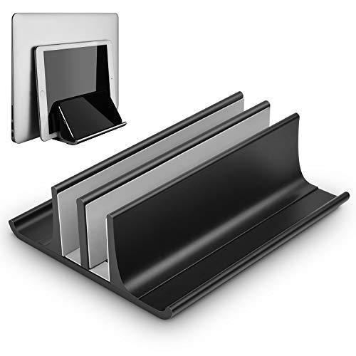 Verstellbarer vertikaler Laptop Ständer mit platzsparendem und rutschfestem Design, Laptopständer doppelplatzer Ständer für Laptops, Notebooks oder Tablets - Aluminium-Legierung - Schwarz