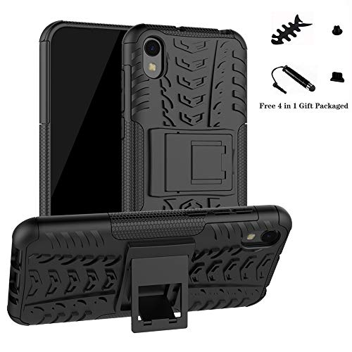 Huawei Y5 2019 /Honor 8S case,LiuShan Shockproof Heavy Duty Combo Hybrid Rugged Dual Layer Grip with Kickstand for Huawei Y5 2019 /Honor 8S Smartphone(Not fit Huawei Y5 2017/Honor 8A/8C/8X),Black