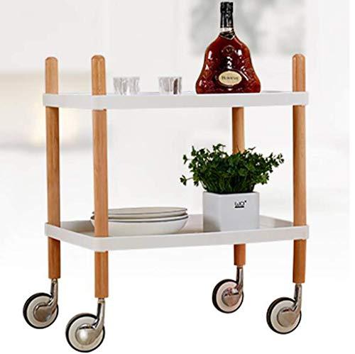 Badezimmer Aufbewahrungswagen Servieren Weinwagen Utility Trolley Organizer Rack Küche Wohnzimmer Tee Getränk Liquor Bar Trolley 2-Tier-Regale Weiß/Schwarz