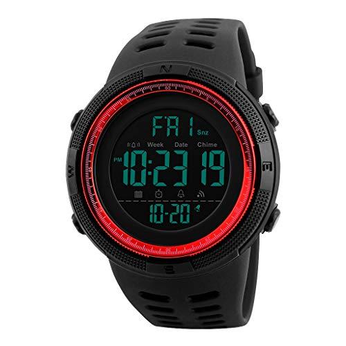 TISHITA Reloj Digital Deportivo al Aire Libre para Hombre Impermeable con cronómetro Alarma EL Calendario de retroiluminación Semana - Rojo