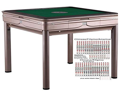 TRYHO 宣和电动麻将桌 Champagne Simple Style 4-Legged Automatic Mahjong Table with 36mm No Numbers Tiles...