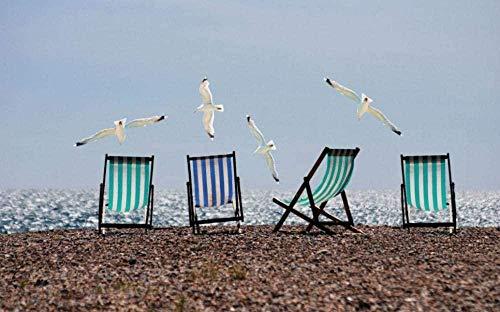 Puzzle 1000 piezas niños adultos playa gaviota sillón reclinable niños juego de rompecabezas hogar 70x50cm