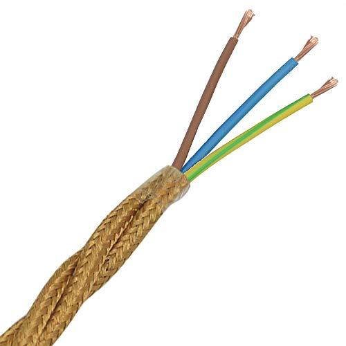 Textilkabel Gold Antik gedreht verdreht 3 Meter 3G Stoff-Kabel Lampenkabel Leuchten-Kabel Rundkabel Stromkabel umsponnen