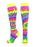 MadSportsStuff Crazy Tie Dye Socks Over The Calf (Groovy Neon, Medium)