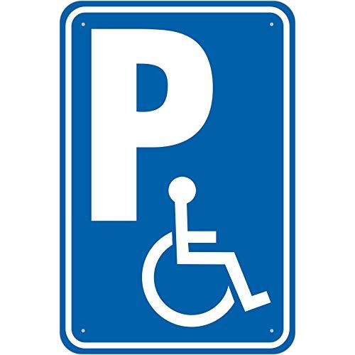 Schild Behinderten Parkplatz aus Aluminium-Verbundmaterial 3mm stark 20 x 30 cm Rollstuhlfahrer parken