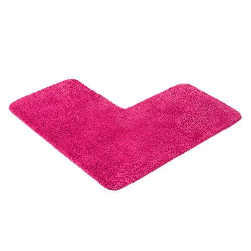 PANA Flauschiger Duschvorleger mit Eckausschnitt • Badematte in versch. Farben und Größen • Badteppich für Eckduschen • Badteppich rutschfest & waschbar • 50 x 100 x 100 cm • Farbe: Fuchsia