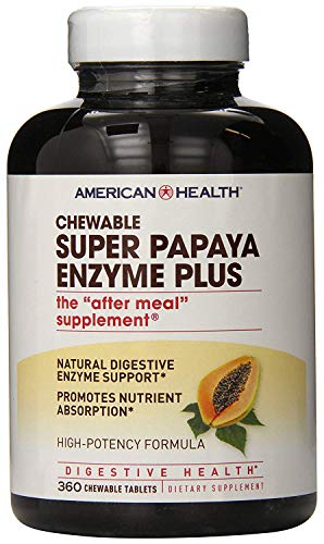 American Health Super Papaya Enzyme Plus Chewable Tablets, Natural Papaya Flavor - Promotes...