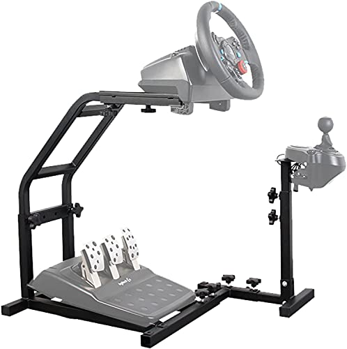 Hottoby Racing Wheel Stand with Pro Shifter Mount for Logitech G29/G27/G25/G923 Adjustable Height Gaming Wheel Stand fits PC/Xbox/PS4 Driving Simulator Steering Wheel Stand (Without Wheel and Pedals)