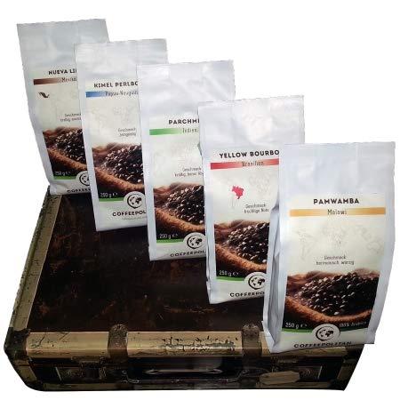 Coffeepolitan Geschenkset - Kaffee aus 5 Kontinenten - gemahlen 5 x 250g - Mahlgrad geeignet auch für Filterkaffee
