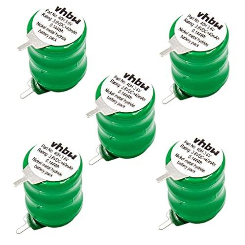 vhbw 5X NiMH Batería de botón de Repuesto Tipo V40H 2 Pines 40 mAh 3,6 V Compatible para lámparas solares, etc.