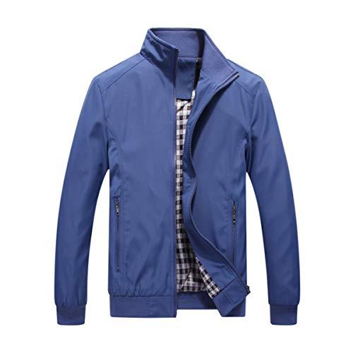 Allthemen Mens Casual Jackets Bomber Jackets Lightweight Slim Fit Zip Coats Classic Outwear Jean Blue XL