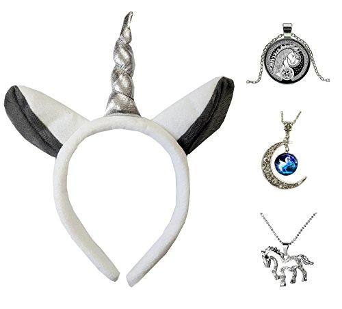 Eenhoorn zilver hoorn oren + zwart/wit, blauwe maan of diamant hanger