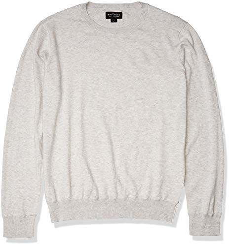 Velvet by Graham & Spencer Men's Cotton/Cashmere Sweater, Grey, Medium
