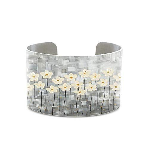 Peinture Fleurs Roses Arbre Peinture Bracelet Tentures Shabby Chic Cadeau Pour Son Bracelet Peinture Gris Beige Blanc