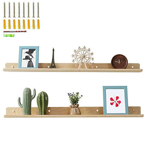 HROOME Floating Shelves 36 Inch Large Set of 2, Wood Rustic Picture Ledge Wall Shelf for Home Decor Living Room Bedroom Bathroom Kitchen Office Display 90 Centimeters Length