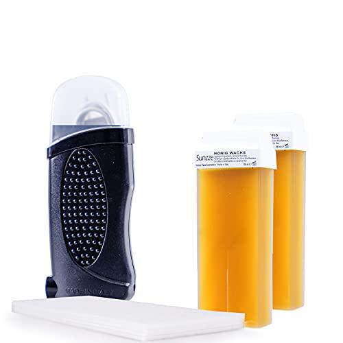 Sunzze Set per depilazione roll-on in cera, dispositivo a cera calda con 2 cartucce di cera da 100 ml, per depilazione con strisce in tessuto non tessuto, con salviette post-depilazione