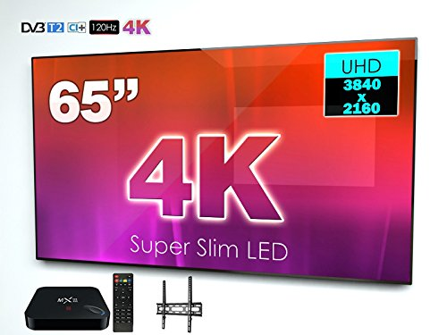 SWEDX Super Slim 165 cm (65 Zoll) Ultra HD LED-TV + Smart TV-Box + Wandhalterung