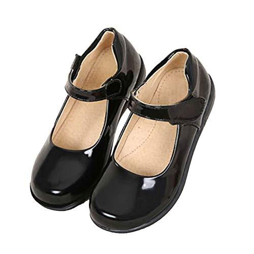 inlzdz Zapatos Niña Planos Uniforme Princesa Zapato de Flamenco Calzado de Danza Baile LAtina Cha Cha Sevillanas Niñas Negro A 34