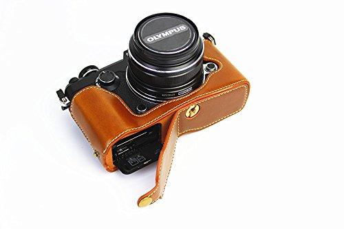 Apertura inferior Versión protección PU medias de la cubierta del bolso del caso de la cámara con trípode Diseño para Olympus PEN-F con la mano la correa de cuero de Brown