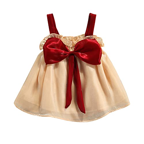 Vestido corto para niñas pequeñas casual de hilo brillante sin mangas arco...